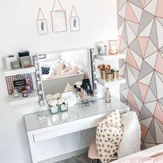 It's really a dressing table – with space for make-up and jewellery inside. Grey Bedroom Decor, Bedroom Decor For Teen Girls, Teen Room Decor, Girl Bedroom Designs, Stylish Bedroom, Room Ideas Bedroom, Dressing Room Decor, Bedroom Dressing Table, Dressing Room Design