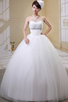 White Tulle Strapless Bridal Dress - Order Link: http://www.theweddingdresses.com/white-tulle-strapless-bridal-dress-twdn0367.html - Embellishments: Beading , Sash , Sequin; Length: Floor Length; Fabric: Tulle; Waist: Natural - Price: 137.5USD