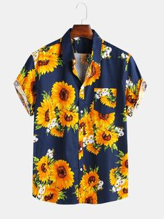 Mr.Macy Fashion Mens Ethnic Printed Stand Collar Short Sleeve Loose Shirts Blouse