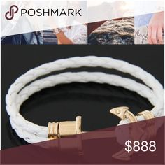 ANCHOR BRACELET White leather w gold hardware. 👁‍🗨👁‍🗨 I OFFER 30% OFF BUNDLES. I CANNOT ACCEPT OFFERS ON BUNDLES. 30% OFF IS A BIG DISCOUNT AND THEN POSH TAKES ANOTHER 20%. Jewelry Bracelets