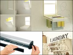 Neat laundry drying rack/window treatment idea. Also further in the article is a table/mirror combo.