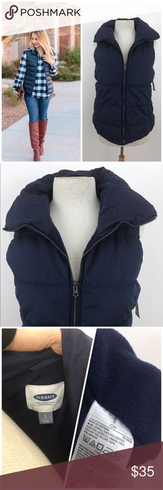 """NWT Dark Navy Blue Puffer Vest **AVAILABLE FOR A LIMITED TIME ONLY**  Sold out online ! Dark navy blue. Super comfortable and warm.  Size small petite, but Old Navy sizes run big so please refer to measurements: Armpit to armpit 18"""" Length 25"""" **model in covershot is for inspiration only - she is not wearing the same vest listed for sale. Old Navy Jackets & Coats Vests"""