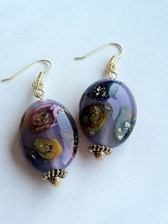 Galaxy French Glass Earrings Unique Beads by DoubleDmentia on Etsy