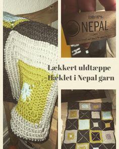 Hæklet uldtæppe i Nepal garn fra Drops eget design PiaHDesign