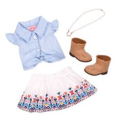 You'll start a style stampede in the Our Generation My Lucky Horseshoe Outfit for 18-inch dolls! This western-style outfit features a blue denim shirt with buttons, ruffle sleeves, and a tie waist as an extra pretty touch. The flowing skirt with beautiful desert-style embroidery will make your 18-inch dolls want to twirl around for hours! For style that's just as perfect on city streets as it is in sand and fields, your doll can wear the desert boots with extra glimmer. Don't forget the lucky Ropa American Girl, American Girl Doll Sets, American Doll Clothes, Girl Doll Clothes, Girl Dolls, Og Dolls, Poupées Our Generation, Blue Denim Shirt, Journey Girls