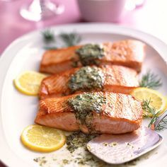 Butter flavored with mustard and capers adds to salmon's lusciousness.
