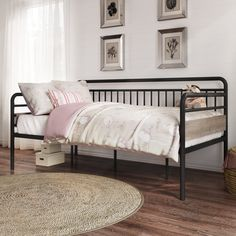 Better Homes & Gardens Anniston Twin Metal Daybed Image 1 of 7 Metal Daybed With Trundle, Twin Bunk Beds, Down South, Home Office Furniture, Better Homes And Gardens, Bed Sizes, My New Room, Contemporary Design, 5 D
