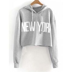 Drawstring New York Cropped Hoodie Gray S (1.140 RUB) ❤ liked on Polyvore featuring tops, hoodies, gray hoodies, sweatshirt hoodies, cropped drawstring hoodie, hooded pullover and grey hoodies