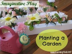 Planting a Garden : A fabulous fine motor activity using fake flowers and planting them in to a pretend Styrofoam garden.