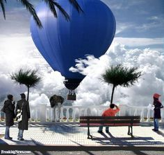 funny shaped hot air balloons - Google Search Surreal Art, Hot Air Balloon, Surrealism, Balloons, Clouds, Funny, Photography, Blue, Weather