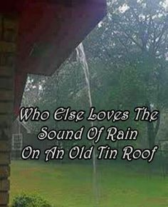 Who else loves the sound of rain on an old tin roof? (Always need a metal roof somewhere on the homestead, even if it's just over the chicken coop. Sound Of Rain, Singing In The Rain, Rain Sounds, I Smile, Make Me Smile, I Love Rain, Love Rain Quotes, Southern Sayings, When It Rains