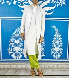 Embroidered With & Green Salwar by at White Kurta, Wedding Sherwani, Anita Dongre, Indian Attire, Indian Ethnic, Duster Coat, Menswear, Silk, Green