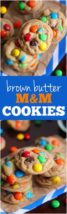 These Brown Butter M&M cookies are amazing and chewy and the brown butter adds the BEST flavor!