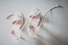 Silver and pink bridal shoes