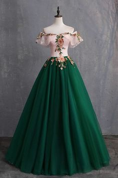 Off The Shoulder Floor Length Prom Dress With Appliques, Puffy Quinceanera Dress, SRS, This dress could be custom made, there are no extra cost to do custom size and color. Cheap Prom Dresses, Ball Dresses, Formal Dresses, Formal Prom, Puffy Dresses, Green Prom Dresses, 1700s Dresses, Pink And Green Dress, Bridesmaid Dresses