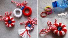 Martisor- do this craft with yarn and.guess it the plastic ring around your drink bottles.LOL yep recycle too! Christmas Ornaments To Make, Christmas Holidays, Christmas Crafts, Art Lessons For Kids, Art For Kids, Yarn Crafts, Diy And Crafts, Winter Crafts For Kids, Thinking Day