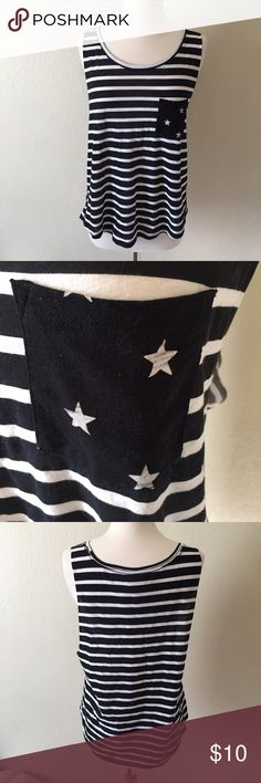 VS PINK Striped Tank VS PINK Stars and Stripes tank. Size large, can fit a small-medium. New, has some light marks on the pocket from being moved. PINK Victoria's Secret Tops Tank Tops
