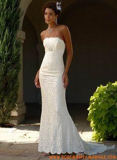 Robe sirène en satin et dentelle ornée d'un ruban robe de mariée dentelle