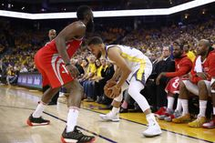 James Harden of the Houston Rockets defends Stephen Curry of the Golden State Warriors during Game Three of the Western Conference Finals of the 2018 NBA Playoffs at ORACLE Arena on May 2018 in. James Harden, Western Conference, Nba Champions, Houston Rockets, Stephen Curry, Golden State Warriors, My Hero, Finals, Basketball