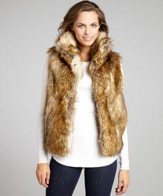 Womens Faux Raccoon Fur Shaggy Vest Coat Brown Furry Jacket Outwear waistcoat