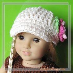 PATTERN – Crocheted beautiful Doll Cap Newsgirl Beanie for American Girl doll « Lilyknitting – Patterns and Crochet