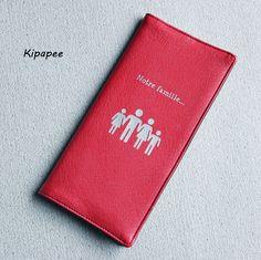 livret de famille : étui en simili cuir rouge tissu noir personnalisation notre famille argentée