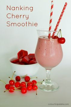Nanking Sour Cherry Smoothie - so many health benefits including upping your metabolism! Cherry Smoothie, Smoothie Prep, Vegan Smoothies, Juice Smoothie, Smoothie Drinks, Smoothie Recipes, Cherry Recipes, Fruit Recipes, Delicious Recipes