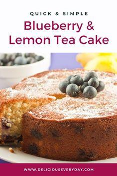 Blueberry & Lemon Tea Cake with Lemon Sugar Topping I pair blueberries with lemon in my Blueberry & Easy Cheesecake Recipes, Easy Cake Recipes, Snack Recipes, Dessert Recipes, Tea Recipes, Recipes Dinner, Yummy Recipes, Desserts, Blueberry Tea