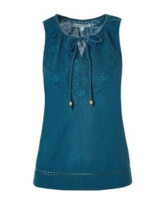 Keep your style fresh and laid back, with beautiful embroidery and crochet knit details. This linen-like petite top compliments a casual look with distressed jeans, but also pairs with a fitted pant for the office. Petite Tops, Tie Blouse, Work Wardrobe, Distressed Jeans, Casual Looks, Your Style, Turquoise, Dark, Tank Tops