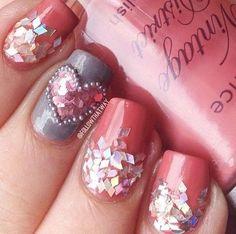 Glam pink nails