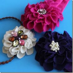 Felt flower tutorials...most can be applied to stiffened fabric.