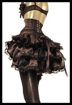 Black Satin Burlesque Steampunk Bustle THE DARK ANGEL Victorian Decadence by Lovechild Boudoir