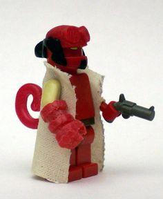 Lego custom minifig hellboy - wondering if I can make mods from polymer clay… Lego Custom Minifigures, Lego Minifigs, Lego Duplo, Lego People, Lego Man, Bros, Lego Worlds, Cool Lego Creations, Lego Models