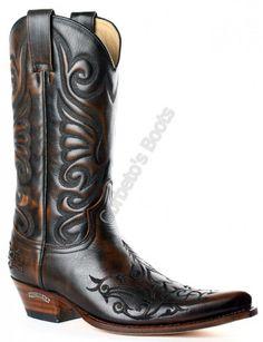 6056 Javi Britnes Flo Marrón   Bota cowboy Sendra para hombre hecha en piel vacuno color cobre con bordados tribales a la venta en Corbeto's Boots.