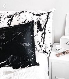 Home accessory: pillow marble bedding bedroom black and white print printed pillow minimalist