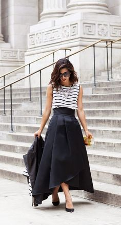 How to wear your striped shirt to a formal event: pair with a dramatic asymmetrical silk midi skirt.