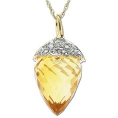 XPY 10k Yellow Gold Citrine and Diamond Acorn Pendant $199.99  #gift #necklaces