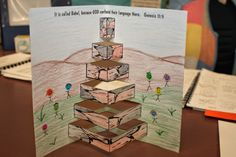 Pop up tower craft for Tower of Babel in Genesis from Ronda Duval on her Hands On Bible Teacher blog.