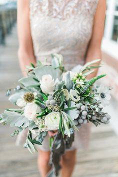 dusty miller anemone bouquet - photo by Becky Williamson Photography http://ruffledblog.com/nautical-romance-wedding-ideas-in-charleston