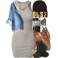 Just the dress jean jacket and boots