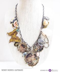 Pinspin-wendy Morris-Saponaro  Mixed media altered jewelry for Prima