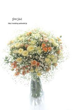 カスミソウのイエローオレンジブーケ … Summer Wedding Bouquets, Bride Bouquets, Flower Bouquet Wedding, Floral Bouquets, Beautiful Flower Arrangements, Elegant Flowers, Floral Arrangements, Bunch Of Flowers, Love Flowers