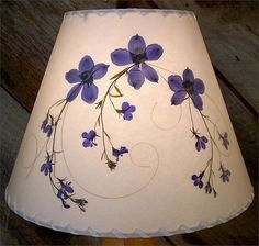 Botanical Lampshade - #2608 delphinium, lobelia and swirly grass