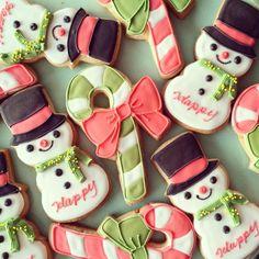シルクハットのスノーマン&リボンキャンディケーン アイシングクッキー