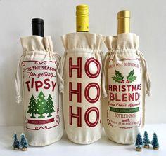 Wine Bags - Christmas Bag Christmas Wine Bag Christmas by sweettalkdesigns