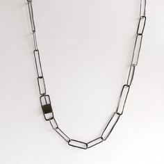 Oxidized sterling silver paperclip chain  by WyckoffSmith on Etsy