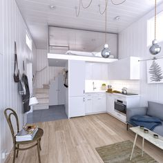 Small House Interior Design, Small House Decorating, House Design, Tiny Spaces, Loft Spaces, Small Pool Houses, Buy A Tiny House, Compact Living, Cabins And Cottages