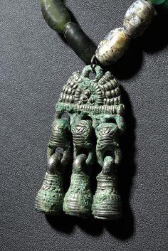 9th century Nthn Europe/BalticAncient Viking Glass Necklace ; Bronze Pendant-Artemis Galleries