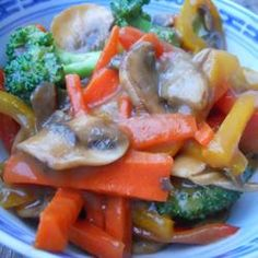 Stir-Fried Vegetables -  Heat pan and add olive oil.   Add vegetables and beans and cover. Cook maybe 8 minutes. Uncover and add lots of soy sauce, ground ginger, garlic salt, and red pepper. Cook until soy sauce burned down.