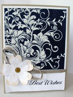 I love this stamp...esp. with the navy blue ink in the background and white embossing powder. Must get this stamp!